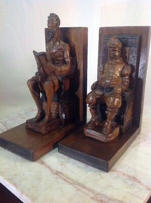 Vtg Folk Art Wood Solid Walnut Hand Carved Don Quixote & Sancho Panza Made Spain