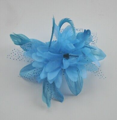 Turquoise sky blue fabric & feather flower fascinator/hair clip corsage. Wedding