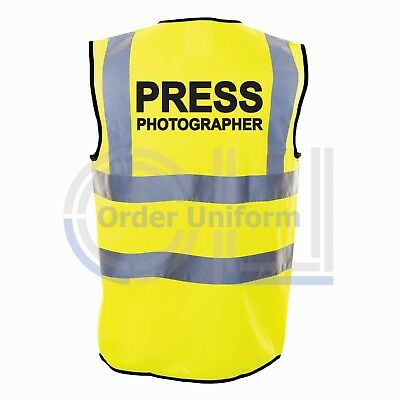 Press Photographer Printed Yellow Enhanced Safety Vest High Vis Waistcoat Hi Viz