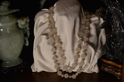 Huge Chinese Carved Shou Blue & Cream Yellow Chalcedony Bead Necklace 188.6 Gram