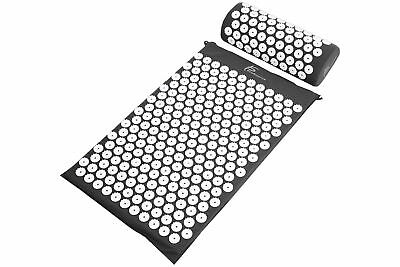 ProSource Acupressure Mat w/Pillow Back Neck Pain Relief Muscle Relaxation Black