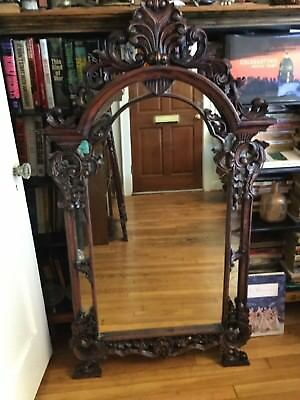 European Antique Large Heavily Carved Mahogany Mirror