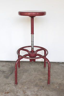 Ajusto Vintage Ajustrite Industrial Adjustable Drafting Stool - Red / Steel
