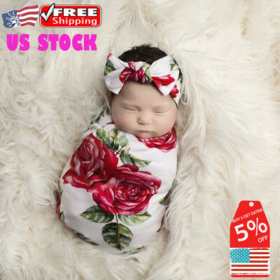 Newborn Infant Girls Rose Floral Sleeping Bag Swaddle Blanket + Headband Outfits