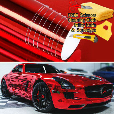 """24"""" x 60"""" Red Chrome Mirror Vinyl Film Wrap Sticker Decal Stretchable 2ft x 5ft"""