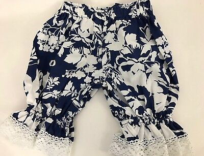 Vintage Persnickety Girls Size 2 Years Ruffle Pant Waistband Blue White Floral