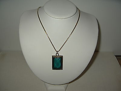 Vintage Victorian Goldtone & Green Square Cabachon Pendant With Chain Necklace