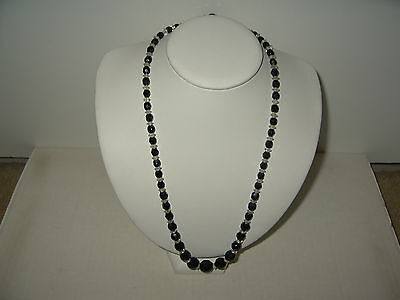 Small Vintage Estate Black & Clear Czech Glass Crystal Graduated Bead Necklace