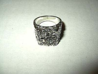 Vintage Men's Silvertone & Clear Crystal Chunky Ring Size 9 1/2 - 16.6 Grams