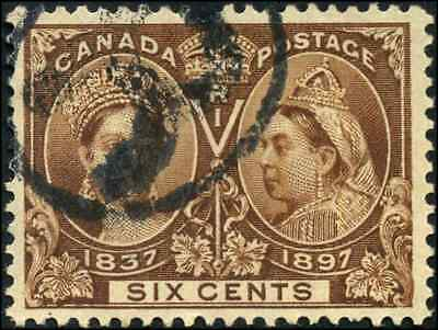 Canada #55 used VF 1897 Queen Victoria 6c yellow brown Diamond Jubilee
