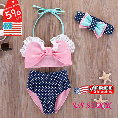 Baby Toddler Girls Summer 3Pcs Beach Swimsuit Bathing Suit Bikini Tankini Outfit