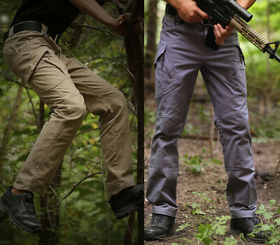 Mens Tactical Army Cargo Pants waterproof outdoor Hiking Hunting Casual trousers