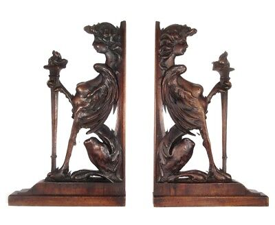 Pair of Antique French Hand Carved Wooden Brackets Ornaments, Sphinx Women Heads