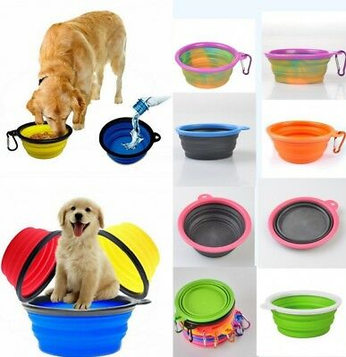 Dog Collapsible Bowl Pet Water Food Dish Feeder Portable Silicone Travel Feeding