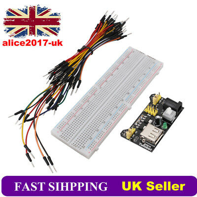MB102 830 Point Prototype PCB Breadboard + 65pcs Jump Cable Wires + Power Module