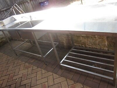 Large Commercial Stainless Steel Double Sinks Bench 3.25M