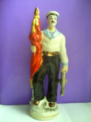 Soviet military sailor with a submachine-gun. Russian porcelain figurine 6090e