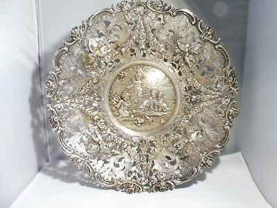 Large Italian 800 Silver Bowl Adorned With Putti Birds Ahd Flowers 24.3 Troy Oz