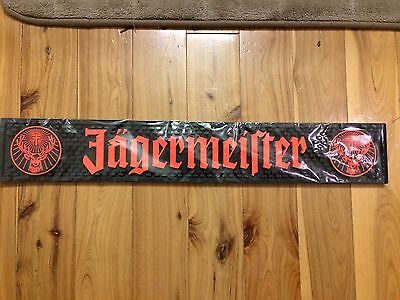 "Jagermeister Rubber Bar Rail Runner Spill Mat Heavy Duty NEW 21"" X 3.5"" NEW"
