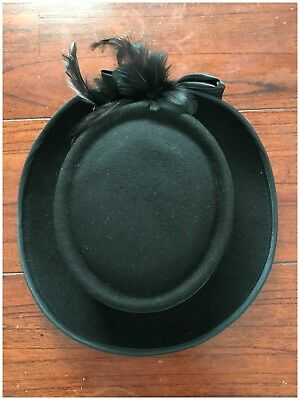 Vintage Womens Hat Feather Ribbon Detailing Black Small