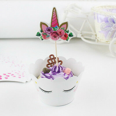 Unicorn 12X Cupcake Wrappers 12PCS Cake Toppers For Kids Birthday Decor X