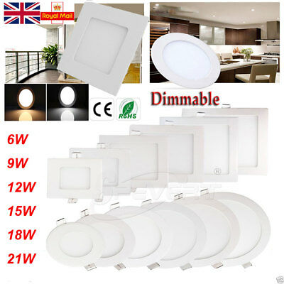10x Dimmable LED Panel Ceiling Cree Down Light Round + Driver 9W/12W/15W/18W/21W