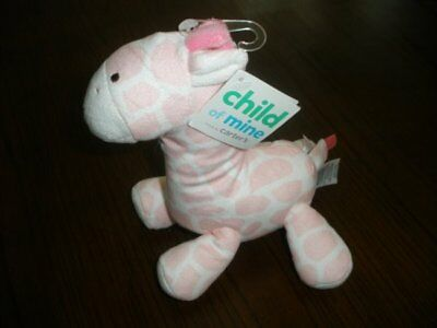 NWT Carters Child Of Mine Pink And White Giraffe Plush Rattle Baby Toy Lovey