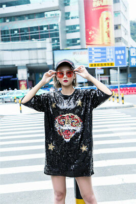 bba0723e0 Woman sequins short sleeve Loose short Mini T-shirt Dress tiger head 681