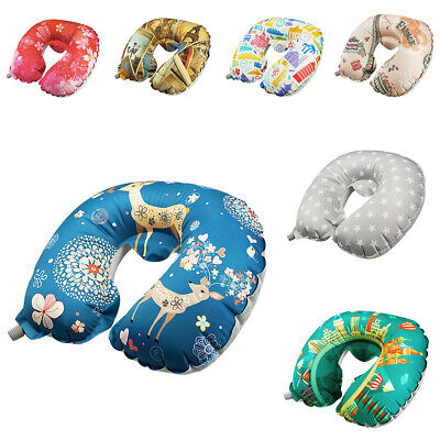 Inflatable Portable Travel Neck Pillow Head Rest Car Sleep Office Napping