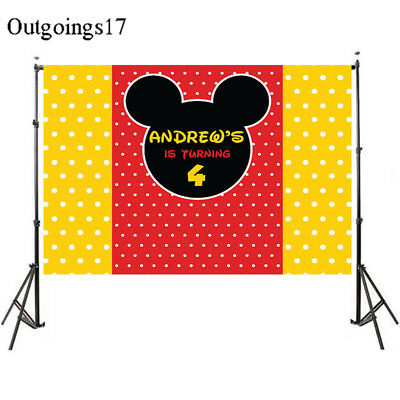 DIY Custom Mickey Mouse Princess Baby Shower Party Wall Background Vinyl 7x5ft