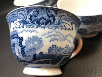 4 Nikko Ironstone Double Phoenix Blue And White Footed Tea Cup Set Vintage 8D