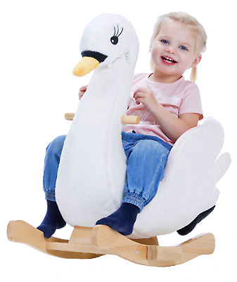 Swan Little Rocker with music and zipper plush rocking animal by Gerardo's Toys