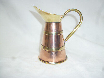VINTAGE SMALL ENGLISH COPPER & BRASS JUG - Arts & Crafts style - vg condition