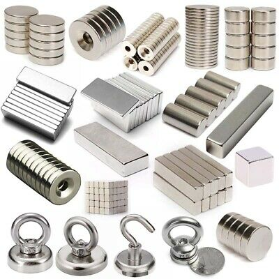 1-100Pcs Strong Recovery Ring Round Cuboid Rare Earth Disc Neodymium Magnet Hook