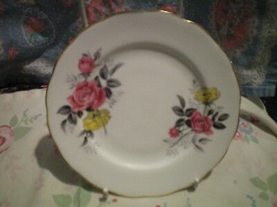 Royal Vale Pink & Yellow Roses With Gold Gilding Side Plate  China Vintage Vgc