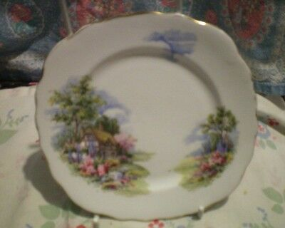 Royal Vale Country Cottage Scene Side Plate Bone China Vintage  Vgc