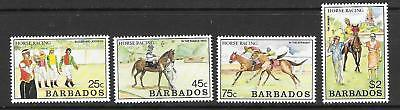 Barbados Sg915/8 1990 Horse Racing   Mnh