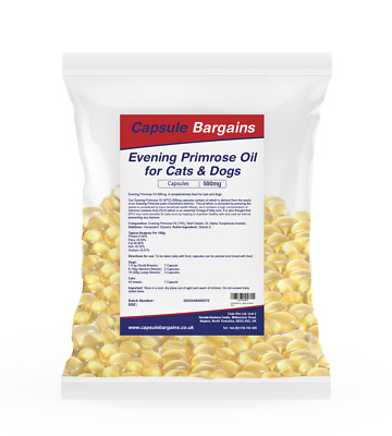 Evening Primrose Oil 500mg for Dogs & Cats 60 capsules by Capsule Bargains