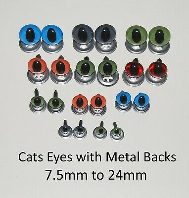 CATS Crystal Eyes - METAL BACKS  Traditional Teddy Bear Toy Doll Safety