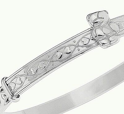 925 Solid Sterling Silver Baby Bangle Christening Birthday Bracelet Teddy Hearts