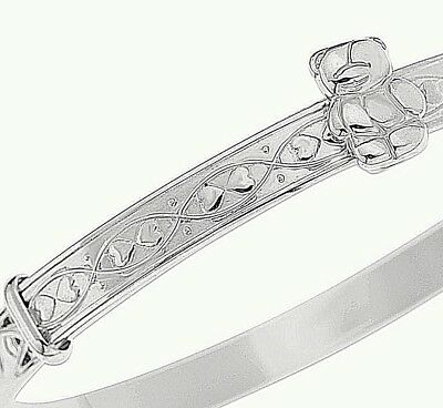 Solid Silver Baby Bangle Christening Gift Give Away Idea Birthday Bracelet Teddy