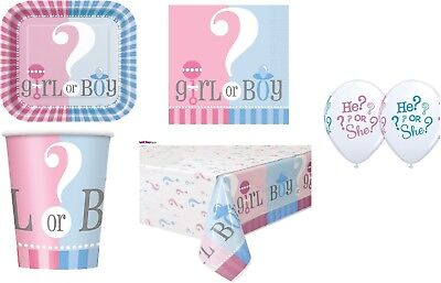 Gender Reveal Party Supplies Kids Party Tableware Plate Cups Napkins Table Cover