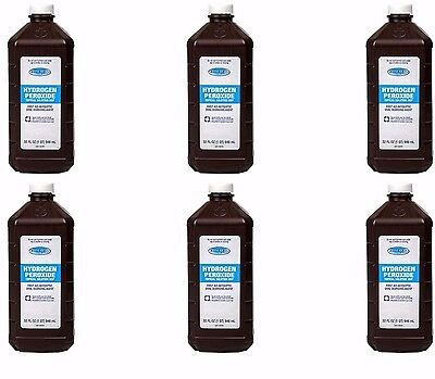 6 Bottles Hydrogen Peroxide Topical Solution USP First Aid (32 Fl Oz)