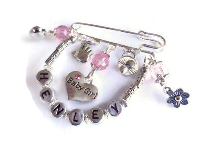 Personalised New Baby Gift Changing Bag / Pram Pin Charm Christening Blessing