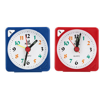 Small Travel Sweep Silent Movement  Alarm Clock Quartz LED Light With Snooze DH