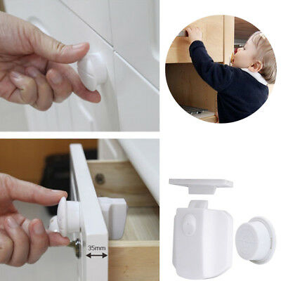 10PCS Magnetic Cabinet Drawer Cupboard Locks Safety Proofing for Baby Kids New