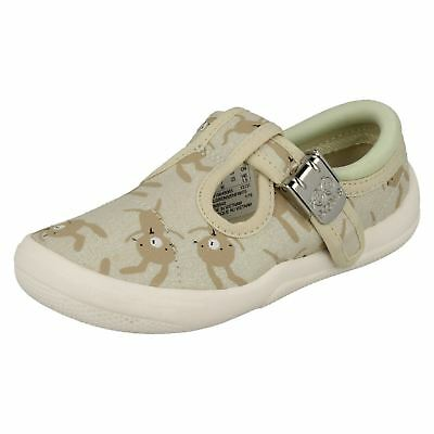 Clarks Girls Briley Bow 18 Canvas T-Bar Strap Casual Doodles Pumps