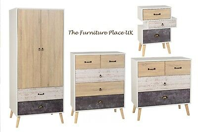 Nordic White and Distressed Effect Bedside Chest of Drawers or Wardrobe