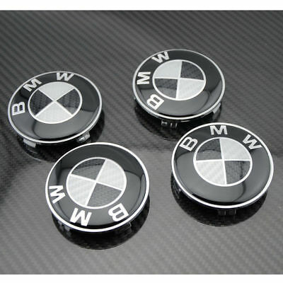 BMW 4 Pcs Emblem Carbon Black Logo Badge Hub Wheel Rim Center Cap Hubcap 68mm