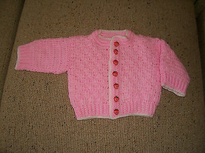 New Hand Knitted Baby Chunky  Cardigan / Coat  Pink 3 -6     Months App